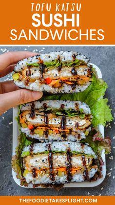 "Vegan Tofu ""Katsu"" Sushi Sandwiches (Onigirazu) and Rolls Vegetarian Sushi Rolls, Tofu Sushi, Chicken Sushi, Sushi Rice Recipes, Vegan Fried Chicken, Healthy Sushi, Tofu Recipes, Asian Recipes, Whole Food Recipes"