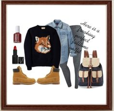Perfect fall time outfit with timbs