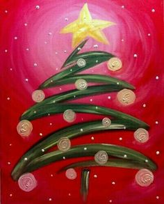Trendy Ideas for whimsical christmas tree painting holidays Canvas Painting Projects, Christmas Paintings On Canvas, Christmas Tree Painting, Easy Canvas Painting, Diy Canvas, Christmas Art, Christmas Projects, Simple Christmas, Diy Painting