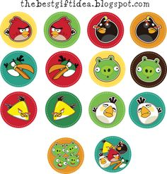 Angry Birds Printable Cupcake Topper Free, right click, save on desktop, print. Then use it freely as cupcake topper or any sticker/label