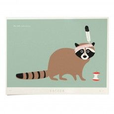 Poster - Raccoon 40x30 cm Limited Edition Green