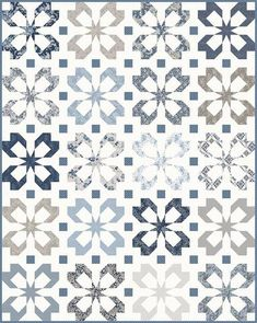 Quilt patterns - Flutter and Hidden Shoofly Patterns – Quilt patterns Two Color Quilts, Blue Quilts, Star Quilts, White Quilts, Patchwork Quilting, Scrappy Quilts, Quilt Block Patterns, Quilt Blocks, Patchwork Patterns