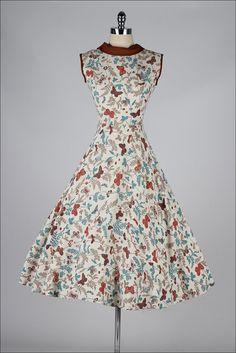 vintage 1950s dress . linen butterfly by millstreetvintage on Etsy