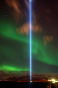 On 9 October 2007, Ono dedicated a new memorial called the Imagine Peace Tower, located on the island of Viðey, off the coast of Iceland. Each year, between 9 October and 8 December, it projects a vertical beam of light high into the sky in Lennon's memory.