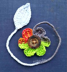 Free Pattern for Crochet Flower and Leaf Bookmark ~ designed by © Elvira Jane.  Available in UK and US crochet terms, via Facebook.