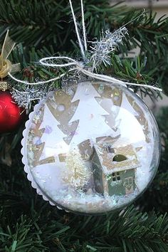 Snow Globe Ornament by Heather Nichols for Papertrey Ink (September 2014)