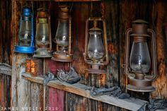 Rustic and colorful lanterns. I want to raid this barn, I'm sure there's all kinds of goodies in there!