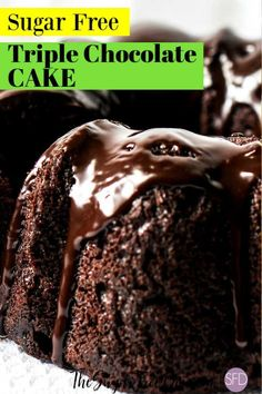 This cake is luscious and delicious! The recipe for how to make Sugar Free Triple Chocolate Cake will certainly impress most anyone. Sugar Free Chocolate Cake, Sugar Free Deserts, Sugar Free Recipes, Chocolate Recipes, Diabetic Chocolate Cake, Chocolate Chocolate, Sugar Free Cakes, Sugar Free Muffins, Sugar Free Frosting