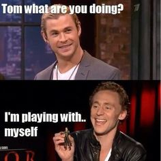 BFF Chris Hemsworth and Tom Hiddleston. #idothatallthetime