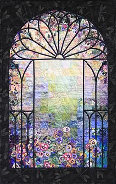 """Winning Quilts from 2014 Quilt Show - 3rd Place - Morning Has Broken (1627) ~ Ruth Van Dyke ~ 23""""x36"""""""