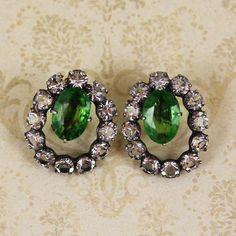 Vintage Sterling Silver Crystal and Green Rhinestone Hoop Screw Back Earrings Oval Rings, Screw Back Earrings, Cut Glass, Hoop, Vintage Jewelry, Sparkle, Sterling Silver, Stone, Crystals