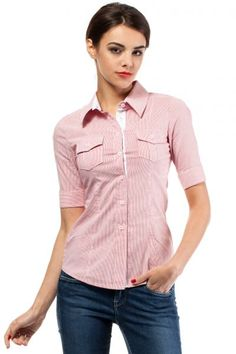 Ladies fitted shirt in shades of powder pink