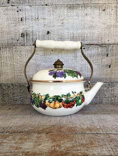 Teapot Enamel Teapot Mid Century Metal Teapot Enamel Tea Kettle Fruit Teapot Vitroceramic Teapot Mid Century Kitchen Decor Farmhouse Chic by TheDustyOldShack on Etsy