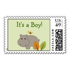 Little Hippo Personalized Postage Stamps