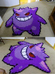 Gengar Blanket by Melyntenshi on DeviantArt Pixel Crochet, C2c Crochet, Crochet Quilt, Crochet Geek, Crochet Home, Crochet Blanket Patterns, Crochet For Kids, Knitting Patterns, Crochet Blankets