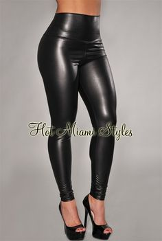 Black Liquid Faux-Leather High-Waist Leggings Women's clothing hot miami styles hotmiamistyles hotmiamistyles.com - Inspired by Victoria Beckham
