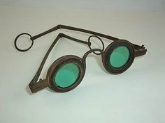 """""""Martin's Margins""""  early light reducing eyeglasses created in about 1760  and used until the 1820s. The inserts were made out of horn or tortoiseshell. . ."""