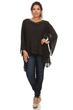 87b075cb0e0c5 Hadari Women s Plus Size Solid Chiffon V-Neck Top Beaded Neckline at Amazon  Women s Clothing store