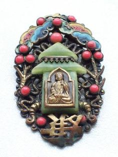 ART DECO CZECH CHINESE STYLE PAGODA/BUDDHA MAX NEIGER VINTAGE BROOCH. photograph by zebrafox. SOLD.