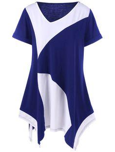 $8.58 Cuffed Sleeve Asymmetrical Plus Size T-Shirt