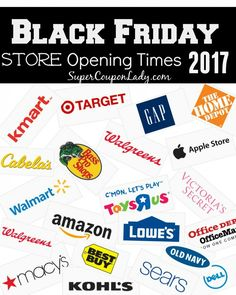 Black Friday 2017Store Opening Times!  Who else is excited about Black Friday!!! I will be staying up withYou ALL NIGHT LONGto help you grab the best deals! Lots of deals will be online(love shopping in my ...