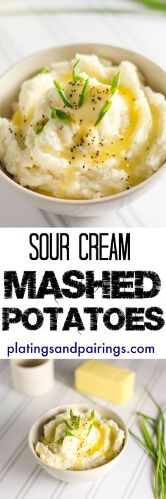 Ultra Creamy Mashed Potatoes - SO great with the sour cream added in! Sour Cream Mashed Potatoes, Easy Mashed Potatoes, Cheesy Potatoes, Baked Potatoes, Potato Side Dishes, Vegetable Side Dishes, Vegetable Recipes, Side Dish Recipes, Potato Recipes