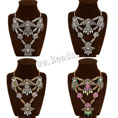 Fashion Statement Necklace, Zinc Alloy, with iron chain & Acrylic, with 7cm extender chain, plated, twist oval chain & faceted & with rhinestone, more colors for choice