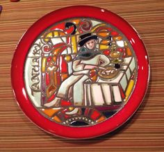 POOLE POTTERY MEDIEVAL CALENDAR SERIES PLATE JANUARY 1972  TONY MORRIS 465/1000