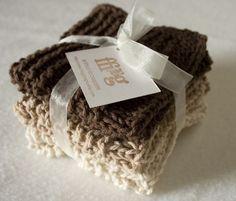 hand knit cotton wash cloths