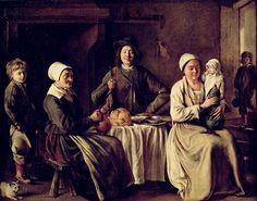 Louis Le Nain – Happy Family (c. 1642) oil on canvas