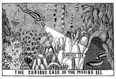 John Broadley - eel left the menu Pet Art, Graphic Illustrations, Printmaking, Storytelling, Illustrators, Composition, Menu, Restaurant, Drawings