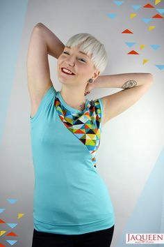 turquoise summer shirt geometric pattern colors von JaqueenFashion