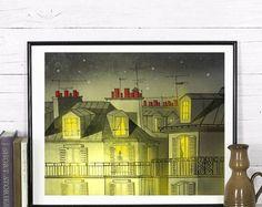 Paris illustration/home decor/paris by night Paris Illustration, Desktop Screenshot, Night, Handmade, Etsy, Shopping, Vintage, Home Decor, Hand Made