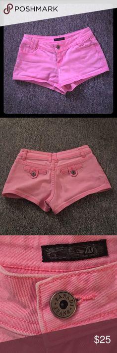 Hot pink denim jean shorts Hot pink denim Jean shorts. Good condition. 98% cotton 2% spandex. Zanadi Jeans  Shorts Jean Shorts