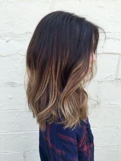 Low maintenance brunette hair with light blonde balayage'd highlights | Instagram: MarissaDanelle stylist at Parlour 3
