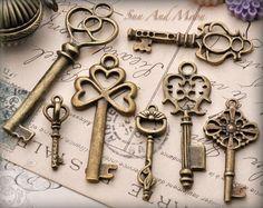 Vintage Style Key Set - 7 Unique Skeleton Keys in Antique Finish - Pendants and Charms. $6.00, via Etsy.