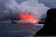 Hawaii - Sea entrance of the 61g lava flow and the lava delta-2 - photo David Ford / Kapaahu Education Center