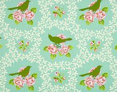 "Last 31"" REMNANT - Heather Bailey - Free Spirit Fabric - Up Parasol - Mockingbird - Aqua - Out of Print"