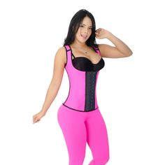 """9653c58ebe4 The """"Curvy Trainer Pink Workout Vest Cincher Corset Shapewear with 3 Hooks  - Faja Body"""