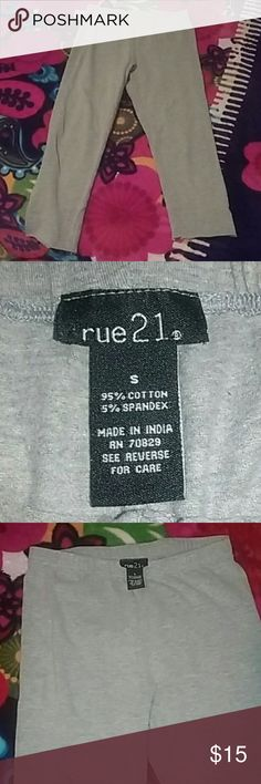 Rue 21 leggings Light Grey more like a silver color, capri leggings, worn few times, cut at the bottom, in great conditions, comment down for any questions Rue 21 Pants Leggings
