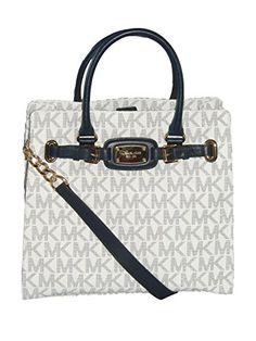 Women\u0027s Shoulder Bags - Michael Kors Large PVC NorthSouth Signature  Hamilton Navy White ** You