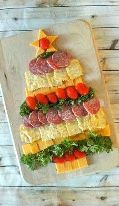 Cheese, Cracker and Sausage Christmas Tree Holiday Appetizer