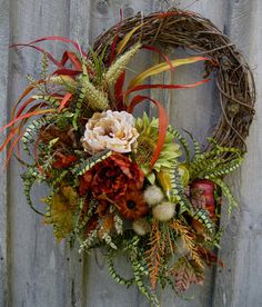 Autumn Wreath, Fall Floral, Designer Wreaths, Sunflowers, Tuscany,  Thanksgiving Wreath.  via Etsy.