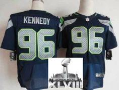 Nike Seattle Seahawks 96 Kennedy Blue Elite 2014 Super Bowl XLVIII NFL Jerseys
