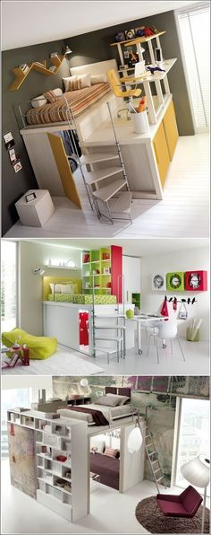 5 Amazing Space Saving Ideas for Small Bedrooms -A small bedroom if designed smartly can also serve as a space where you can sleep, work, sit and store things. -Raise the Bed and Utilize the Space Underneath . Awesome Bedrooms, Cool Rooms, Cool Bedroom Ideas, Girls Bedroom, Bedroom Decor, Loft Bedrooms, Bedroom Bed, Bedroom Small, Kids Rooms