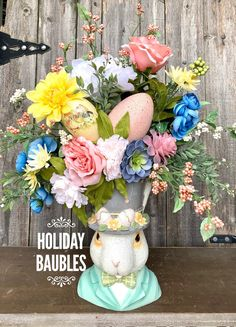 Excited to share this item from my #etsy shop: Easter Floral Arrangement, Easter Arrangement, Easter Bunny Arrangement, Easter Centerpiece, Easter Decor, Floral Arrangement, Spring Floral Spring Flower Arrangements, Spring Flowers, Floral Arrangements, Centerpieces, Easter Centerpiece, Easter Decor, Easter Ideas, Holiday Wreaths, Pink Yellow