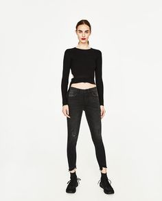 ZARA - WOMAN - MID-RISE JEANS WITH UNEVEN HEM