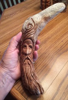 Wood spirit Carving from a driftwood piece by Evelyn Jimenez