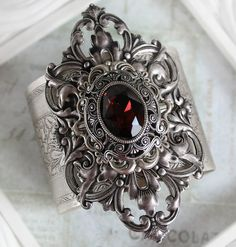JANUARY'S PASSION Victorian vintage gothic cuff bracelet in aged silver with Swarovski garnet, January birthstone