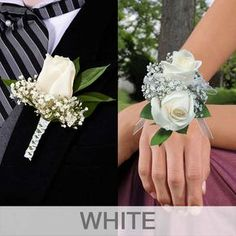 White Corsage, Flower Corsage, Prom Flowers, Wedding Flowers, Wedding Day, Bracelet Corsage, Wristlet Corsage, Prom Corsage And Boutonniere, White Rose Boutonniere